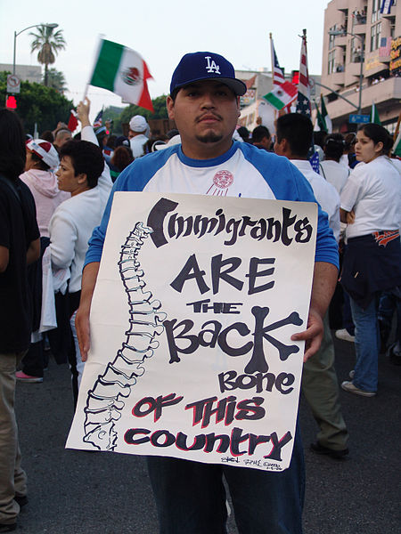 Immigrant rights march for amnesty, Los Angeles, on May Day, 2006.