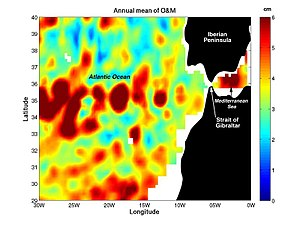 "Ocean current - Coupling data collected by NASA/JPL by several different satellite-borne sensors, researchers have been able to ""break through"" the ocean's surface to detect ""Meddies"" – super-salty warm-water eddies that originate in the Mediterranean Sea and then sink more than a half-mile underwater in the Atlantic Ocean. The Meddies are shown in red in this scientific figure."