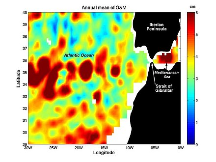 "Coupling data collected by NASA/JPL by several different satellite-borne sensors, researchers have been able to ""break through"" the ocean's surface to detect ""Meddies"" - super-salty warm-water eddies that originate in the Mediterranean Sea and then sink more than a half-mile underwater in the Atlantic Ocean. The Meddies are shown in red in this scientific figure. Meddes-20060320-browse.jpg"