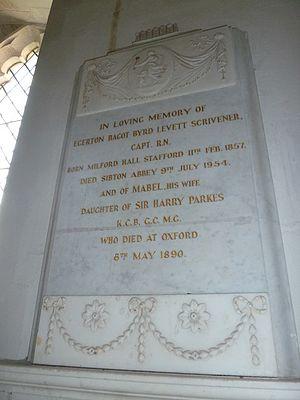 Egerton Bagot Byrd Levett-Scrivener - Memorial to Egerton Bagot Byrd Levett-Scrivener, St Peter's Church, Sibton, Suffolk