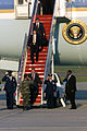 Met by Air Force personnel on the ramp President George W. Bush disembarks Air Force One, at Andrews AFB, Maryland on the afternoon of September 11, 2001 010911-F-RG777-002.jpg