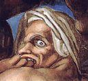 Detail aus Michelangelos Darstellung des Jüngsten Gerichts, Sixtinische Kapelle