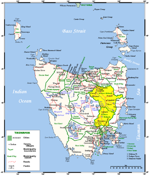 Midlands (Tasmania) - Map of the Midlands region of Tasmania, shaded in yellow.