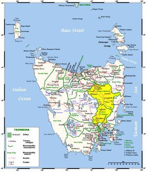 Midlands (Tasmania) - Map of the Midlands region of Tasmania, shaded in yellow.