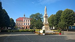 Town square with monument of Mieszko I