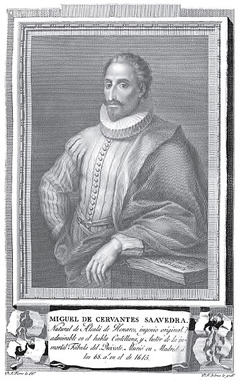 Miguel de Cervantes in a late and idealized portrait of the 18th century (Retratos de Españoles Ilustres-Portraits of Illustrious Spanish, 1791). - Miguel de Cervantes