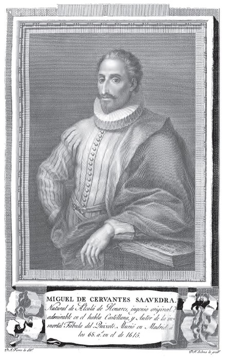 Miguel de Cervantes in a late and idealized portrait of the 18th century (Retratos de Españoles Ilustres-Portraits of Illustrious Spanish, 1791) - Miguel de Cervantes