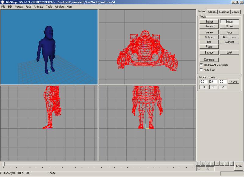 Редактор трехмерной графики Milkshape позволяет моделировать объекты