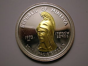 Minerva Reefs - 35 Minerva Dollar coin, obverse