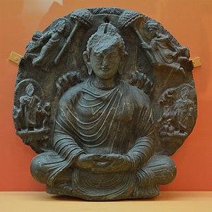 The Twin Miracle - Image: Miracle of Sravasti Schist ca 2nd Century CE Gandhara Near Kabul ACCN K1 A23220 Indian Museum Kolkata 2016 03 06 1524