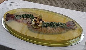 Aspic - Fish in aspic. Vegetables and fish stocks need gelatin to create a mold