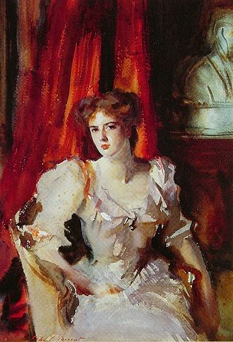 1900s in Western fashion - John Singer Sargent's portrait of Miss Eden shows a fashionable full breast, low neckline, and mass of hair, 1905.
