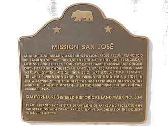 Mission San José (California) - memorial plaque
