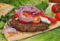 Mmm... lamb burger with herbed goat cheese (6046720185).jpg