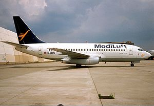 Niira Radia - A Boeing 737-200 aircraft operated by ModiLuft in the mid 1990s.