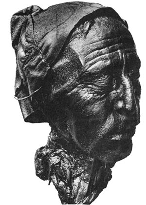 Tollund Man - The well-preserved head of Tollund Man