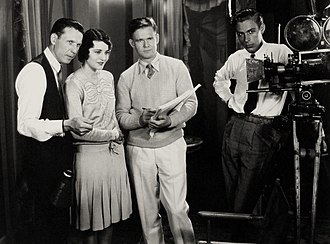 Frank R. Strayer - Frank Strayer (left) on the set of Moran of the Marines (1928)