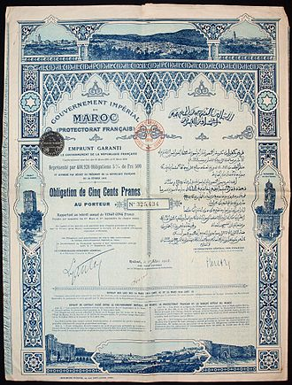 French Protectorate in Morocco - Bond of the French protectorate Morocco, issued 1st March 1918