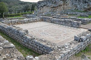 Mosaic floor in the House of the Squeletons, Conimbriga, Lusitania, Portugal (13006583964).jpg