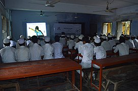 Motiur Rahman Oni speaks in Bangla Wikipedia School Program at Government Muslim High School, Chittagong (03).jpg