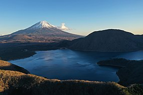 Mount Fuji Japan with Snow, Lakes and Surrounding Mountains.jpg