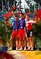 Mountain biking at the 2008 Olympic Games - Men's cross-country podium (2).jpg