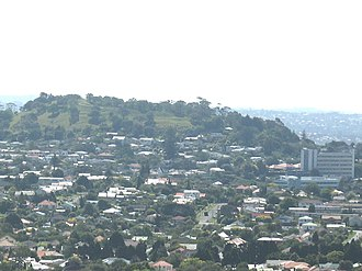 Mount Albert, New Zealand - Mount Albert from Big King. Mt Albert Research Centre is visible on the right.