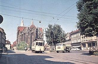 Mühlhausen - Tram at Untermarkt in 1959