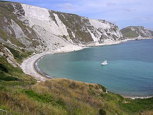 Slump (geology) - Slumped chalk slopes at Mupe Bay in Dorset, England