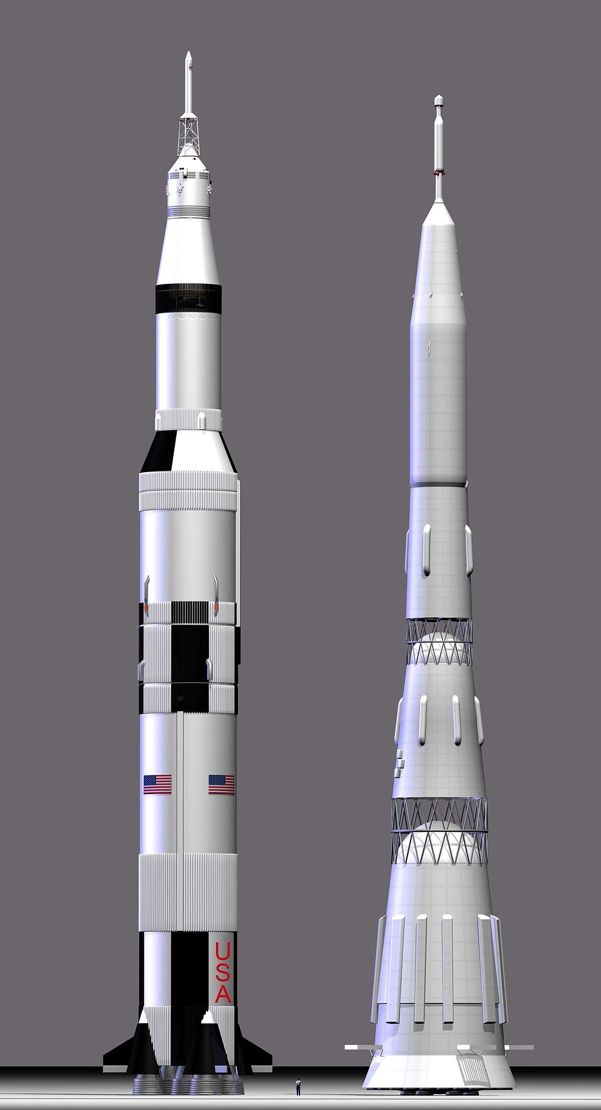 Comparação entre os foguetes Saturno V dos EUA e N1 da URSS. Os Estados Unidos haviam vencido uma etapa da corrida espacial enviando dois homens em órbita ao redor da lua no Natal de 1968.