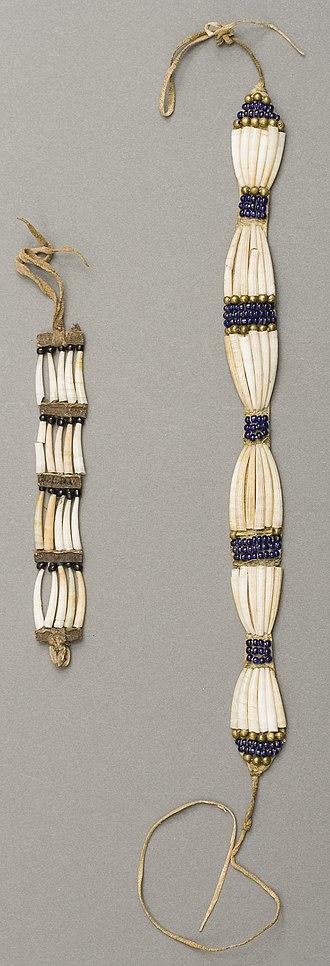 Dentalium shell - Plateau dentalium choker and bracelet, from Nez Perce National Historical Park, 19th century, made using Antalis pretiosum shells
