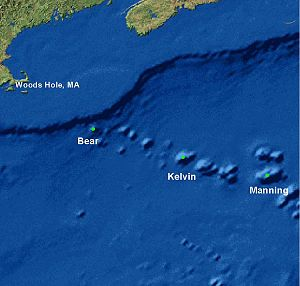 New England Seamounts - Map of the New England Seamounts showing the locations of Bear, Kelvin and Manning seamounts
