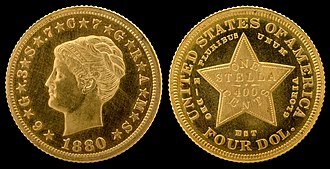 Stella (United States coin) - Image: NNC US 1880 G$4 Stella Pattern (Coiled Hair)