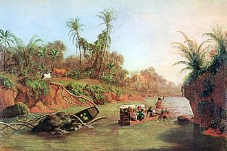 Isthmus of Panama - An 1850 oil painting by Charles Christian Nahl: The Isthmus of Panama on the height of the Chagres River