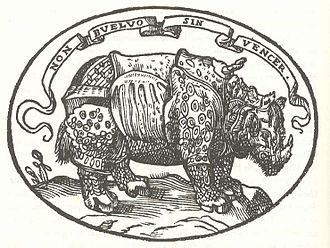 """Alessandro de' Medici, Duke of Florence - The Emblem of Alessandro de' Medici, based on Dürer's Rhinoceros, with the motto """"Non buelvo sin vencer"""" (old Spanish for """"I shall not return without victory""""). (From Paolo Giovio's Dialogo dell'impresse militari et amorosi, 1557.)"""