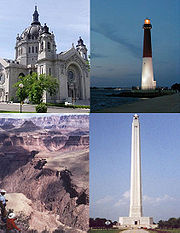 Clockwise from top left: a building, a structure, an object and a site. All examples of National Register of Historic Places property types.