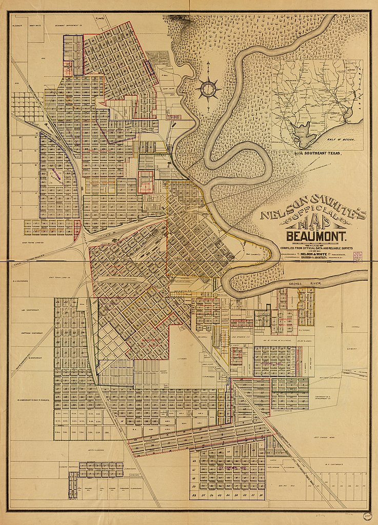 Map Of Beaumont Texas.File Nelson White S Official Map Of Beaumont Compiled From