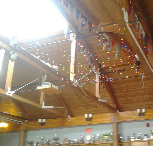 Nepean Sailing Club main lounge roof trophies and burgees