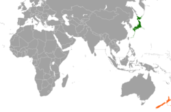 Map indicating locations of New Zealand and Japan