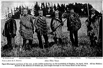 Invasion of the Waikato - Ngāti Maniapoto survivors of the war, at the jubilee gathering on the battlefield of Orakau, 1 April 1914. All but Hekiera shared in the defence of Orakau pa, and fought through to the Puniu River in the retreat.