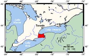 Niagara Peninsula - Map of Southern Ontario showing Niagara Peninsula in red