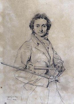 Προσωπογραφία του Νικκολό Παγκανίνι, περ. 1819, σχέδιο του Jean Auguste Dominique Ingres