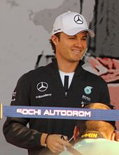 A picture of Nico Rosberg donning Mercedes Grand Prix attire.