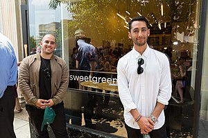 Sweetgreen - Nicolas Jammet and Jonathan Neman in front of their Dupont Circle Sweetgreen restaurant, 2014