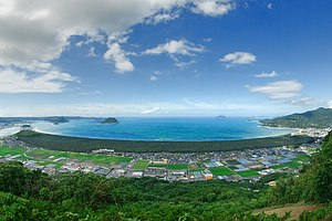 鏡山から捉えた虹の松原の全景、佐賀県唐津市