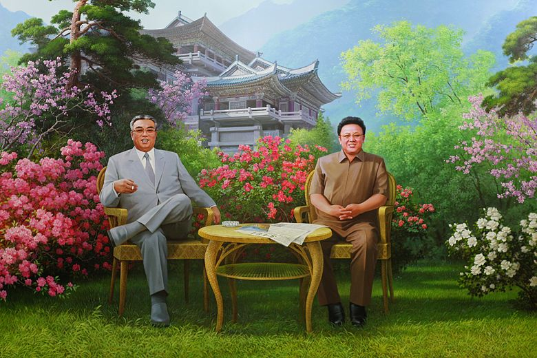 North Korea's first Supreme Leader Kim Il-sung depicted smoking. All three leaders have been smokers.