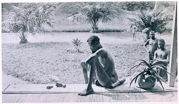 Nsala of Wala in Congo looks at the severed hand and foot of his five-year old daughter, 1904