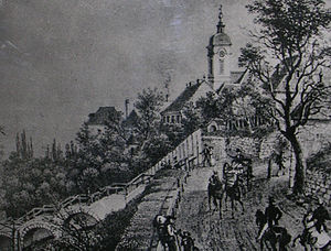 Oberdöbling - View of Oberdöbling in 1830 showing the parish church and a walkway over the Krottenbach