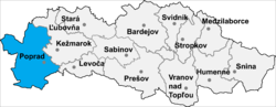Location of Popradas apriņķis
