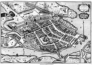 "Galway - The walled city in 1651 (North is to the left). The River Corrib is in the foreground, crossed by what is now ""O'Briens Bridge"", leading to Mainguard Street."